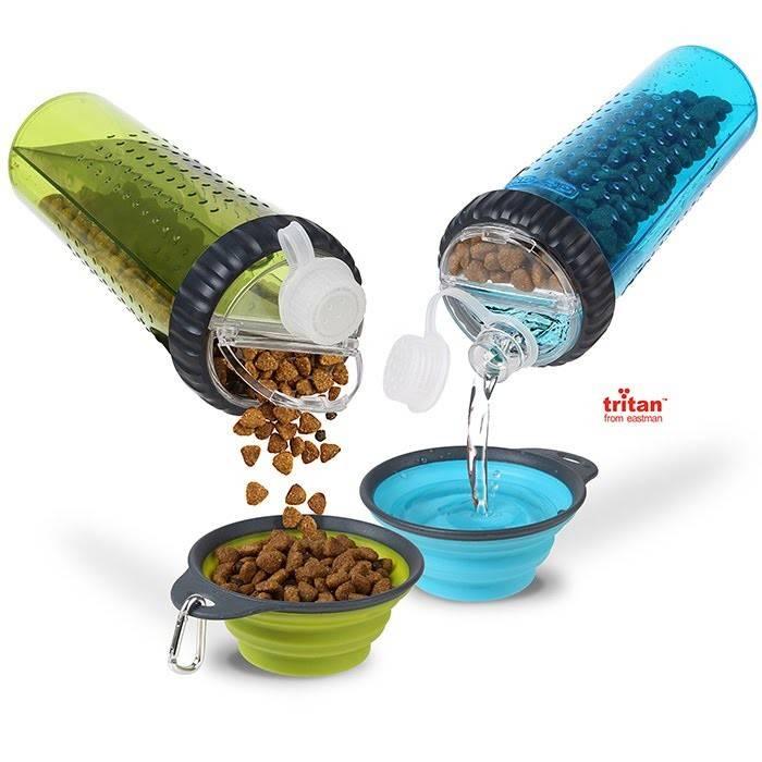 Dexas Snack DuO with Companion Cup – двойная бутылка для воды и корма со складной миской