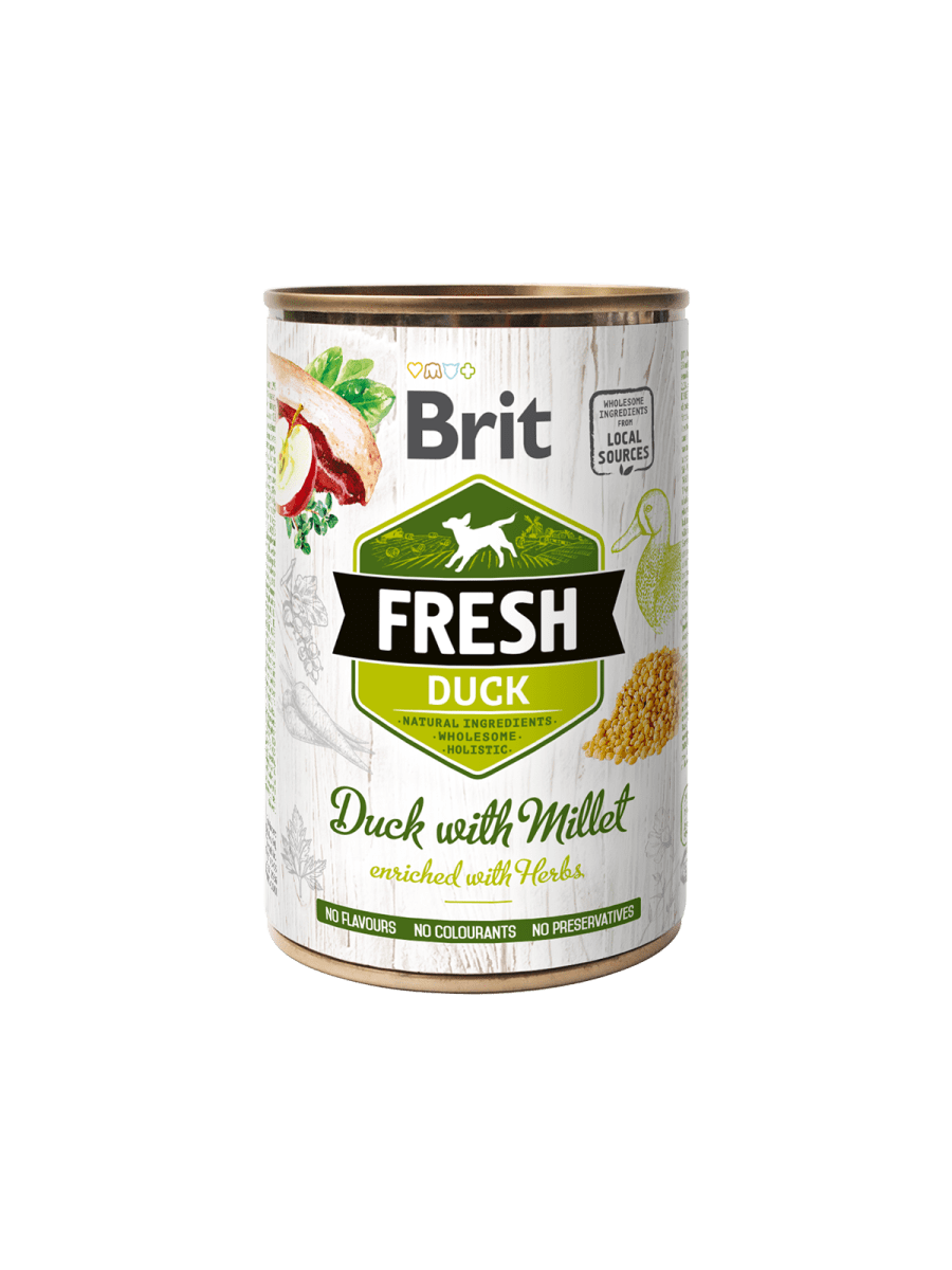 BRIT FRESH DUCK WITH MILLET – вологий корм з качкою та просом для дорослих собак