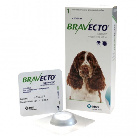 Bravecto – жувальні таблетки від бліх і кліщів для собак вагою від 10 до 20 кг