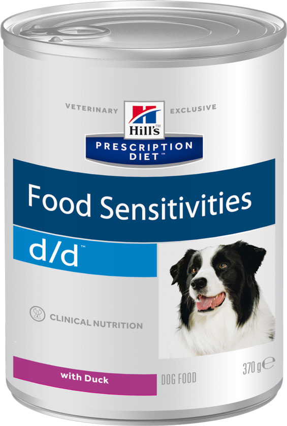 Hill's PRESCRIPTION DIET d/d Canine Duck Formula – для собак для поддержания здоровья собак при кожных реакциях и рвоте/диарее в случае аллергии.
