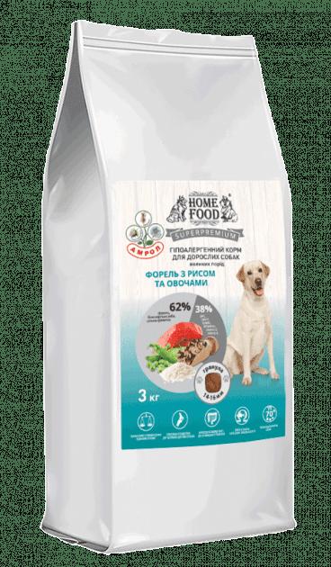Home Food з фореллю, рисом і овочами сухий корм для дорослих собак великих порід