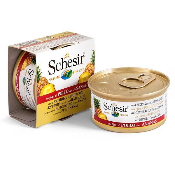 Schesir Chicken Pineapple – консерва з куркою та ананасом для дорослих котів