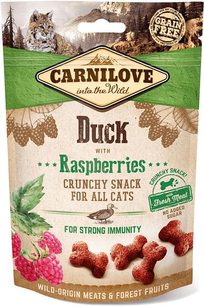 Carnilove Cat Crunchy Snack лакомства с уткой и малиной для кошек