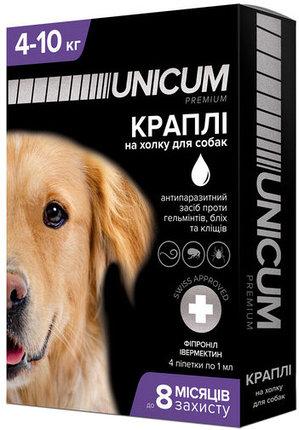 Unicum premium + капли от блох, клещей и гельминтов для собак весом от 4 кг до 10 кг (фипронил ивермектин)