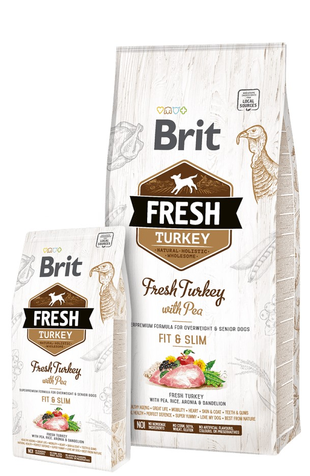 BRIT FRESH TURKEY WITH PEA ADULT FIT & SLIM – сухий корм з індичкою для дорослих собак з надмірною вагою та собак похилого віку