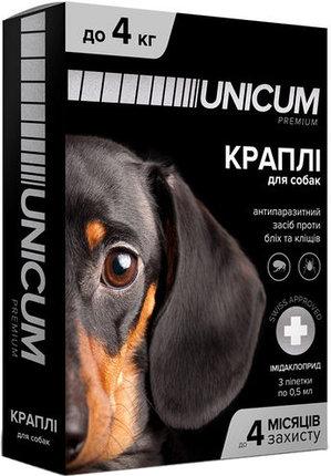 Unicum premium краплі від бліх і кліщів на холку для собак вагою до 4 кг (імідаклоприд)