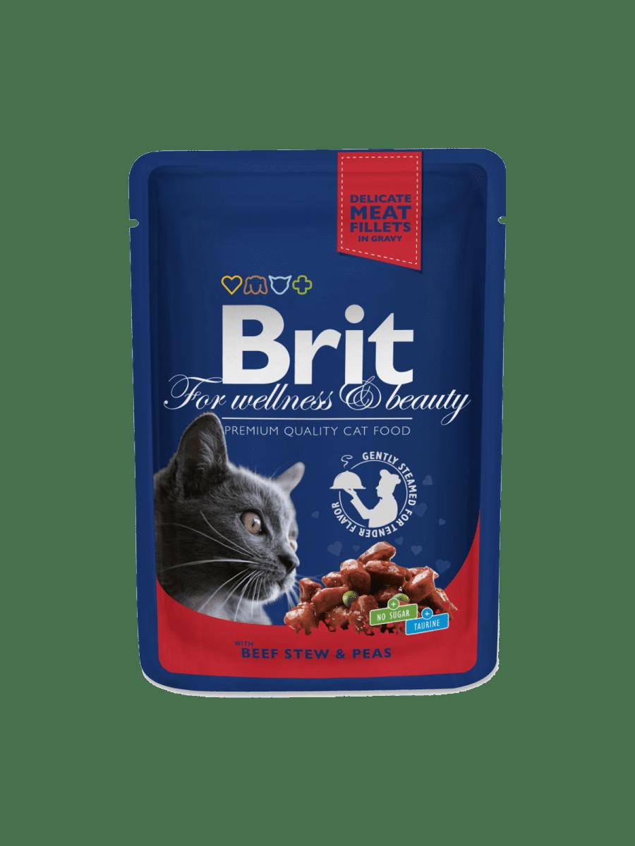 BRIT PREMIUM POUCHES WITH BEEF STEW & PEAS – влажный корм с говядиной и горохом для взрослых котов