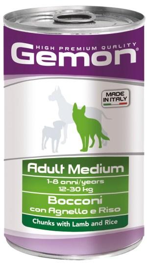 Gemon Adult Medium Chunks with  Lamb and Rice – консервы с кусочками ягненком и рисом для взрослых собак средних пород