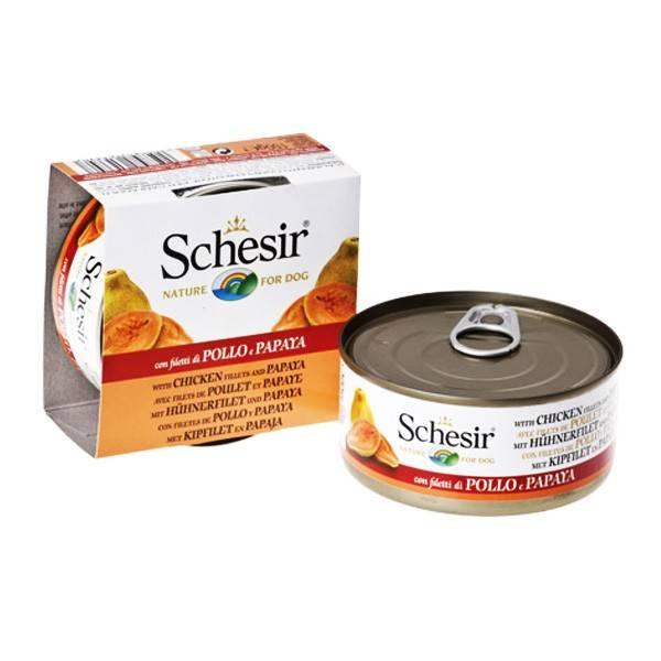 Schesir Chicken Papaya – консервы с курицей и папайей для взрослых собак