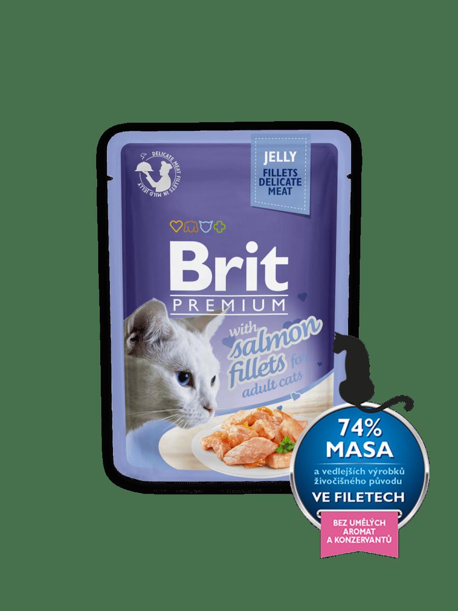 BRIT PREMIUM WITH SALMON FILLETS IN JELLY – вологий корм, шматочки лосося в желе, для дорослих котів