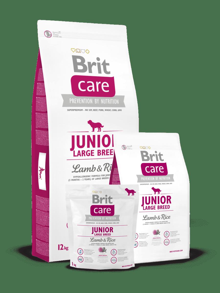 BRIT CARE JUNIOR LAMB&RICE – гипоаллергенный сухой корм с ягненком и рисом для щенков больших пород