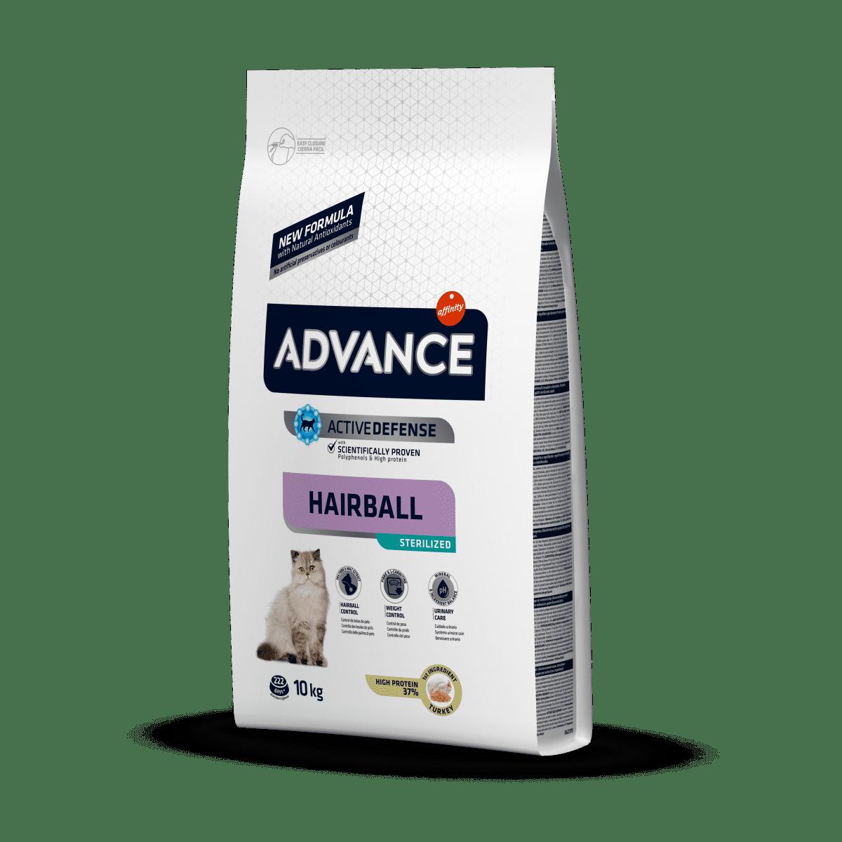 Advance Cat Sterilized Hairball – сухой корм для вывода шерсти в стерилизованных кошек с индейкой