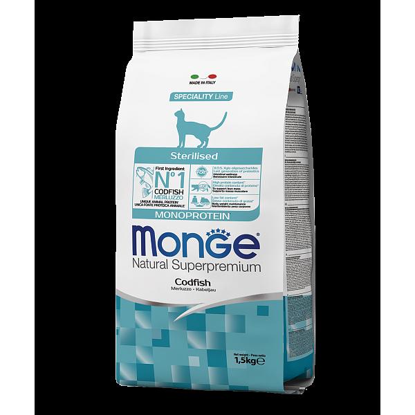 Monge Sterilised Monoprotein Codfish – сухой корм с треской для стерилизованных кошек
