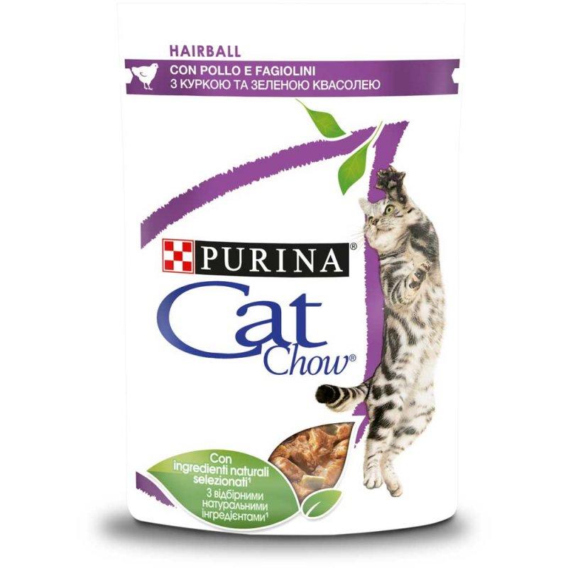 CAT CHOW HAIRBALL –консерва для взрослых котов для выведения комочков шерсти