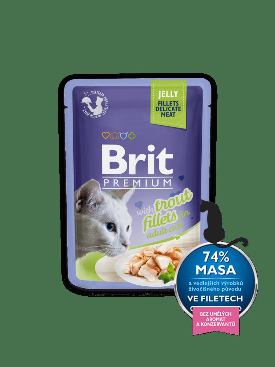 BRIT PREMIUM WITH TROUT FILLETS IN JELLY – влажный корм, кусочки форели в желе, для взрослых котов
