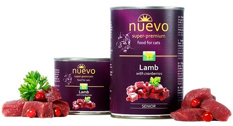 Nuevo Senior Lamb & Cranberries – консервы с ягненком и клюквой для пожилых котов
