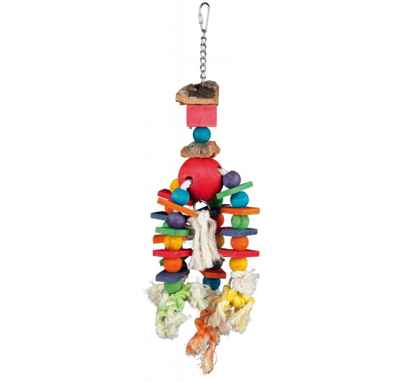 Trixie дерев'яна різнокольорова іграшка на канаті для папуг