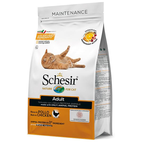 Schesir Cat Adult Chicken — сухой монопротеиновый корм с курицей для котов
