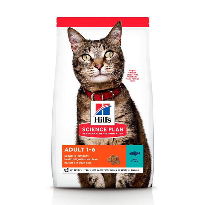 HILL'S SCIENCE PLAN ADULT OPTIMAL CARE сухой корм с тунцом для взрослых котов
