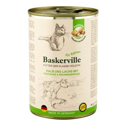 BASKERVILLE HOLISTIC влажный корм с телятиной, лососем, пастернаком и кресс-салатом для взрослых котов