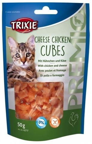 Trixie Premio Cheese Chicken Cubes – лакомства с сырм и курицей для котов