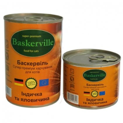 Baskerville консерви з індичкою та яловичиною для дорослих котів
