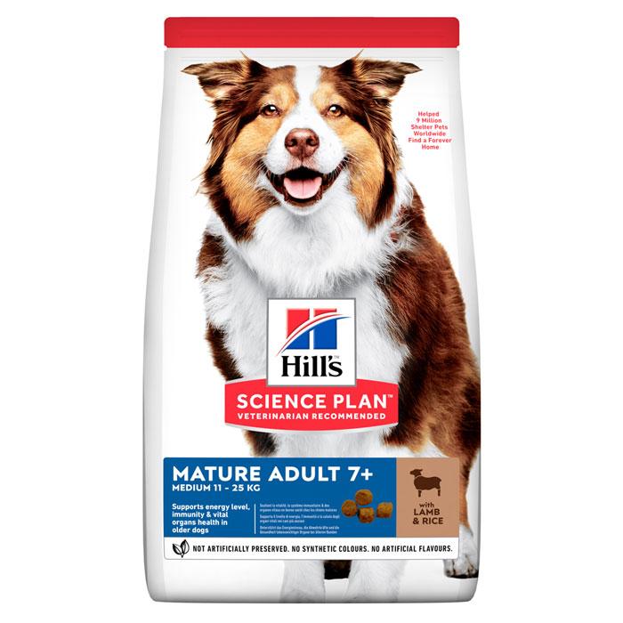 HILL'S SCIENCE PLAN MATURE ADULT 7+ ACTIVE LONGEVITY MEDIUM – сухой корм с ягненком и рисом для собак средних пород старше 7 лет