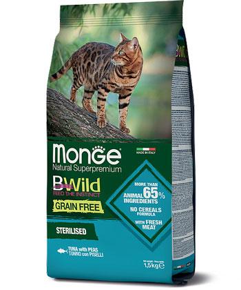 MONGE CAT GRAIN FREE TONNO CON PISELLI  – сухий беззерновий корм з тунцем для стерилізованих котів