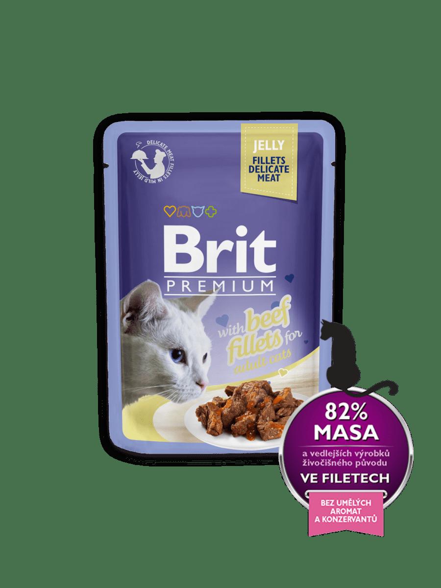 BRIT PREMIUM WITH BEEF FILLETS IN JELLY – вологий корм, шматочки яловичини в желе, для дорослих котів