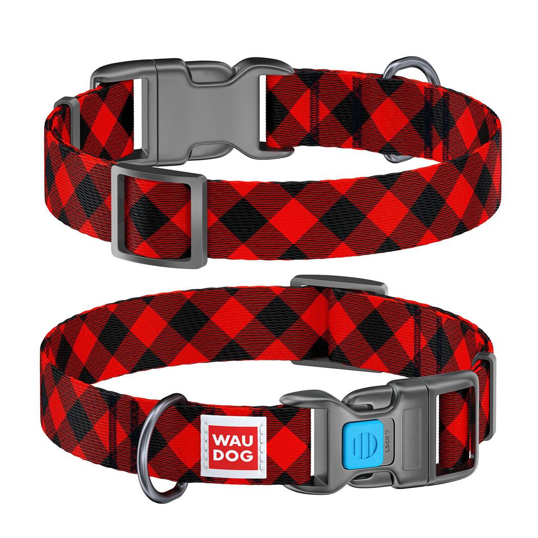 """WAUDOG Nylon """"Шотландка червона"""" нейлоновий нашийник для собак"""