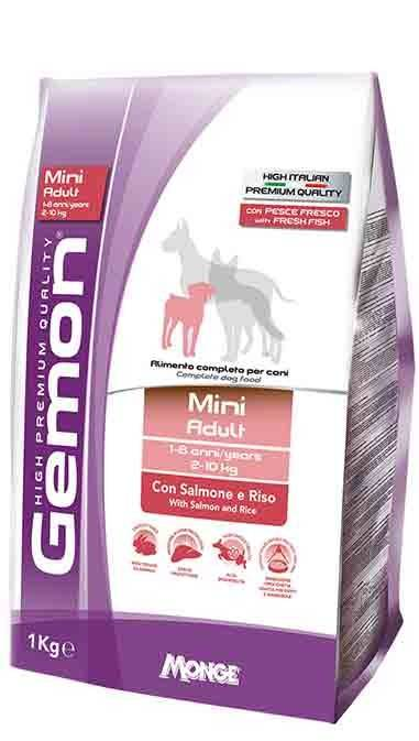 GEMON MINI ADULT WITH SALMON AND RICE – сухий корм з лососем і рисом для дорослих собак малих порід