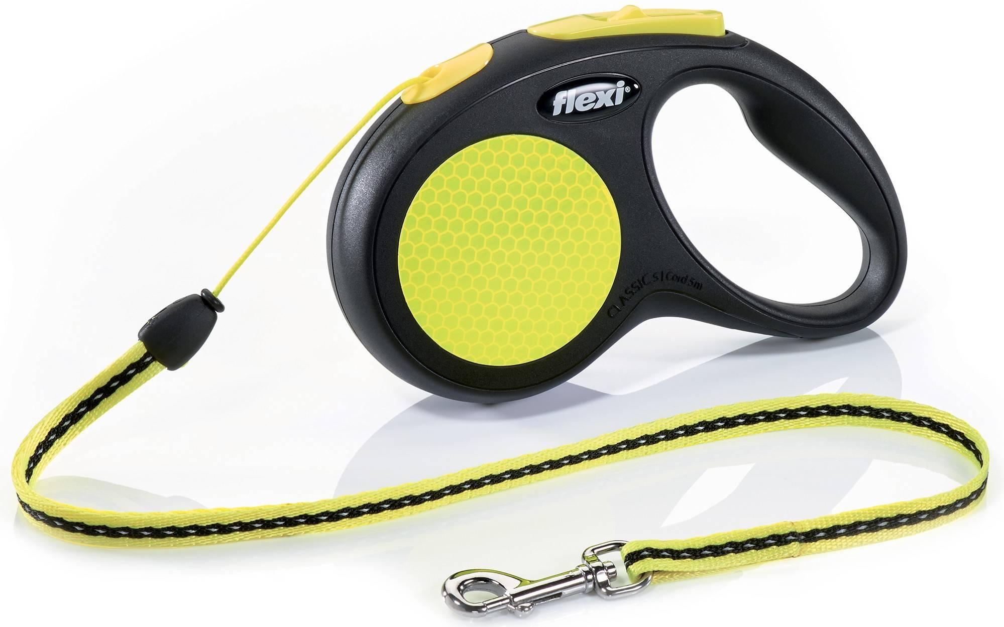 Flexi Neon New Classic S – рулетка с светоотражающим тросом