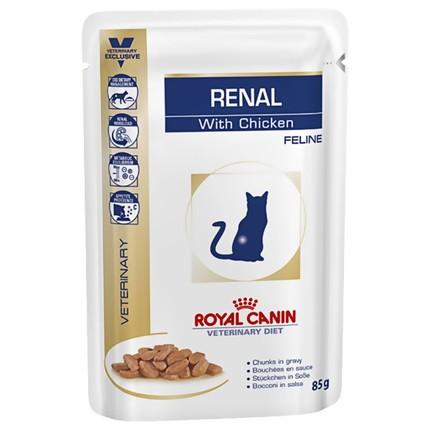 ROYAL CANIN RENAL FELINE CHICKEN Pouches – лечебный влажный корм с курицей для взрослых котов с почечной недостаточностью