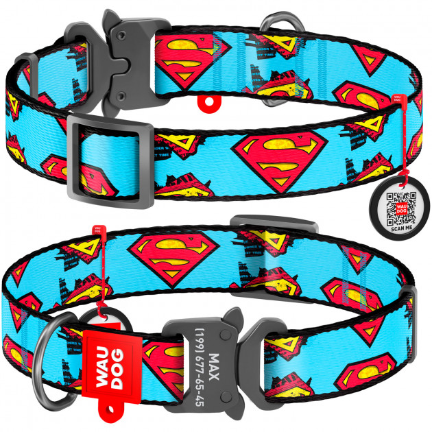 """Waudog Nylon """"Superman"""" – нейлоновий нашийник для собак з застібкою-фастексом"""