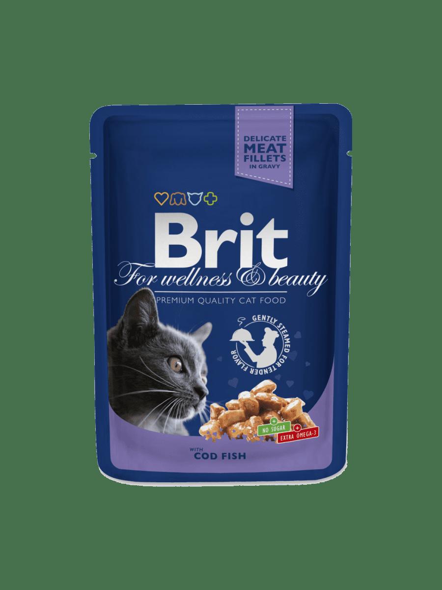 BRIT PREMIUM POUCHES WITH COD FISH – влажный корм с треской для взрослых котов