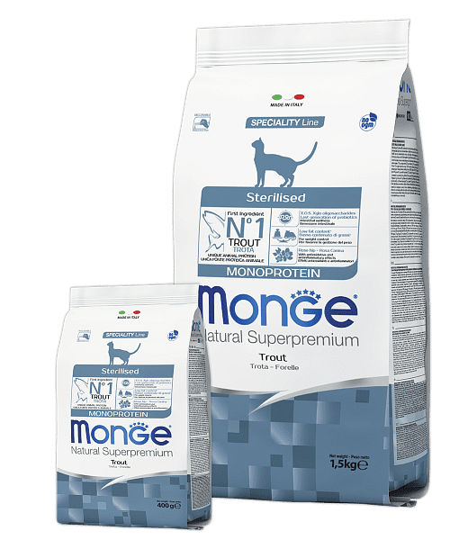Monge Sterilised Monoprotein Trout – сухой корм для стерилизованных кошек