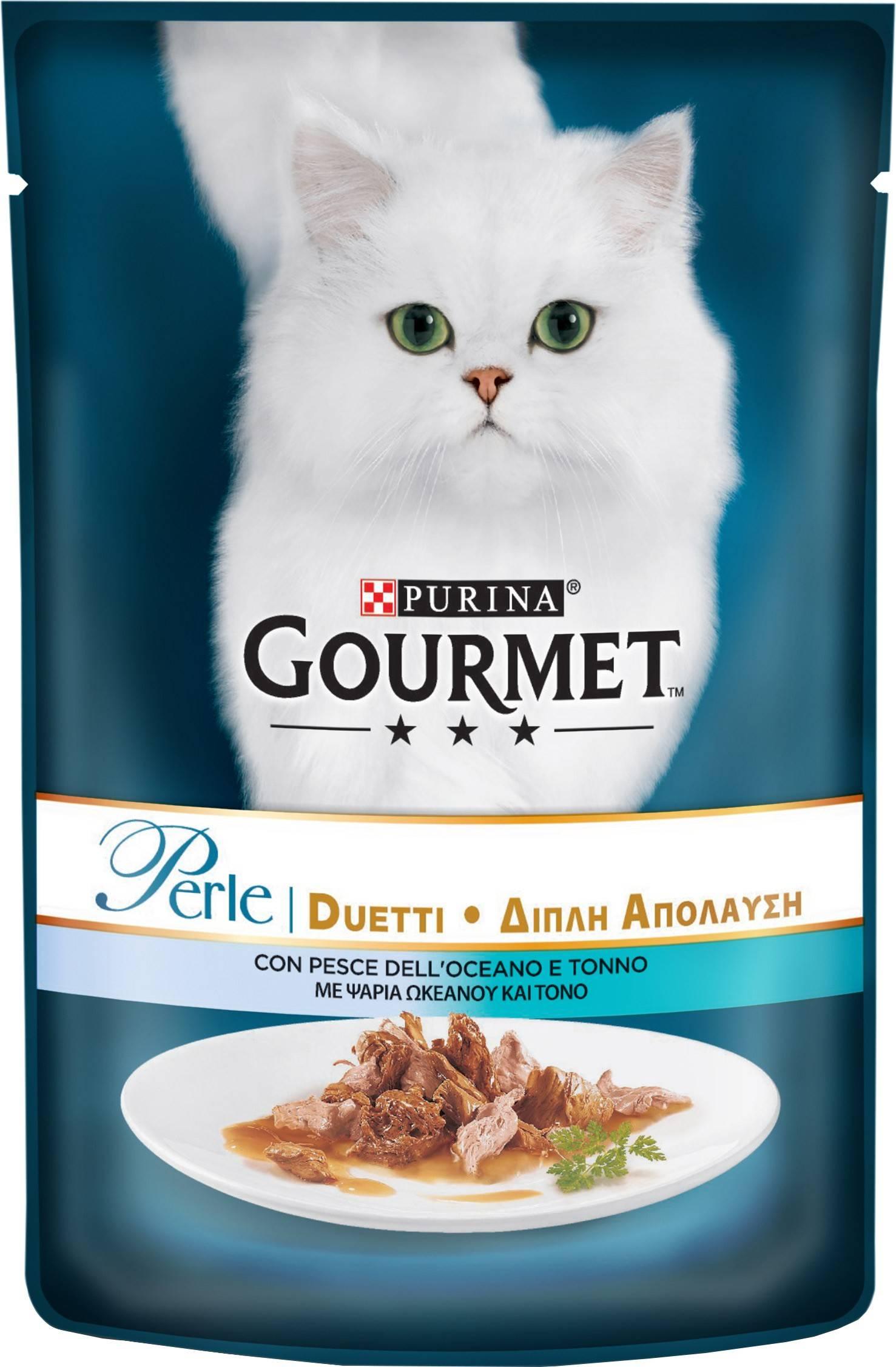 GOURMET PERLE DUO вологий корм з океанічною рибою та тунцем для дорослих котів