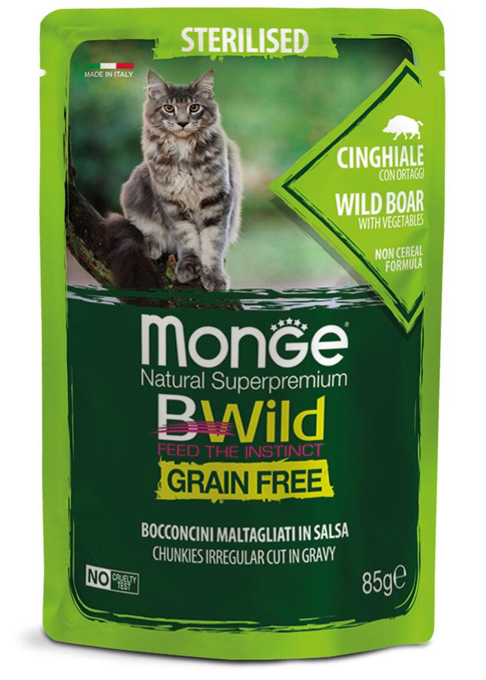 MONGE BWILD STERRILISED CAT GRAIN FREE CINGHIALE – консервированный корм с мясом кабана и овощами для стерилизованных кошек