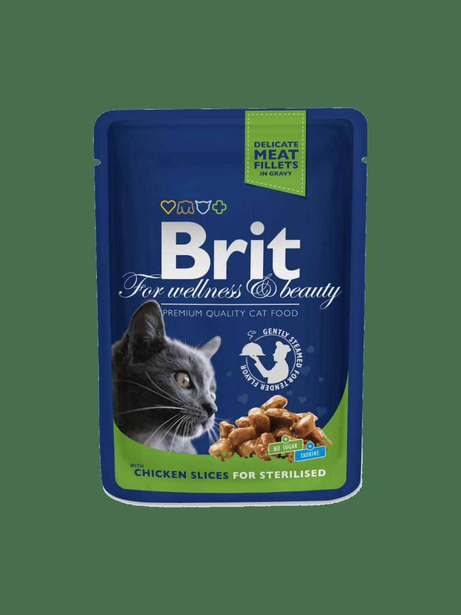 BRIT PREMIUM CHICKEN SLICES FOR STERILISED – влажный корм с курицей для стерилизованных котов