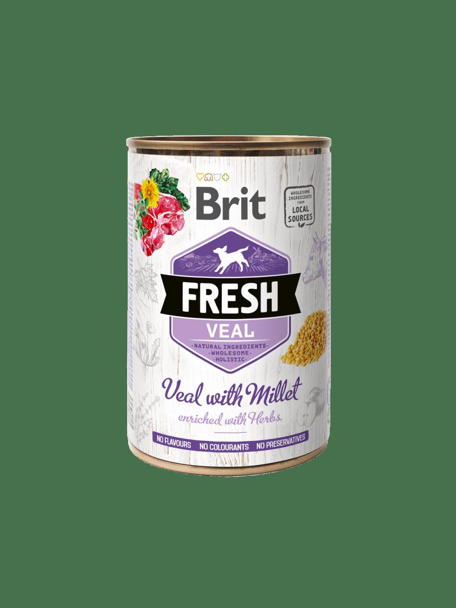 BRIT FRESH VEAL WITH MILLET – консерва с телятиной и просом для взрослых собак