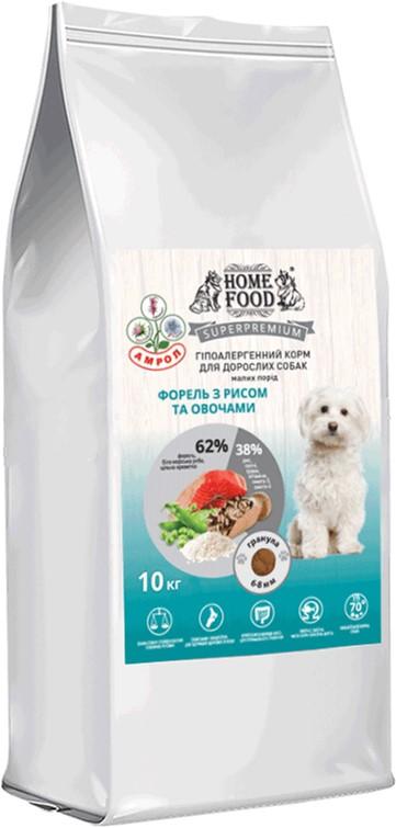 Home Food с форелью, рисом и овощами сухой корм для взрослых собак малых пород