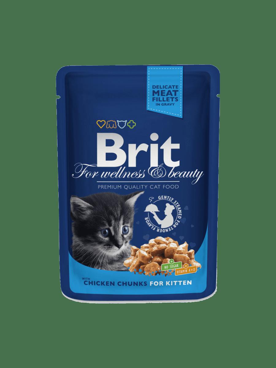 BRIT PREMIUM CHICKEN CHUNKS FOR KITTEN – вологий корм із куркою для кошенят