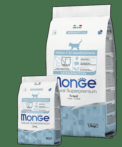 Monge Monoprotein Kitten – сухий корм з фореллю і рисом для кошенят