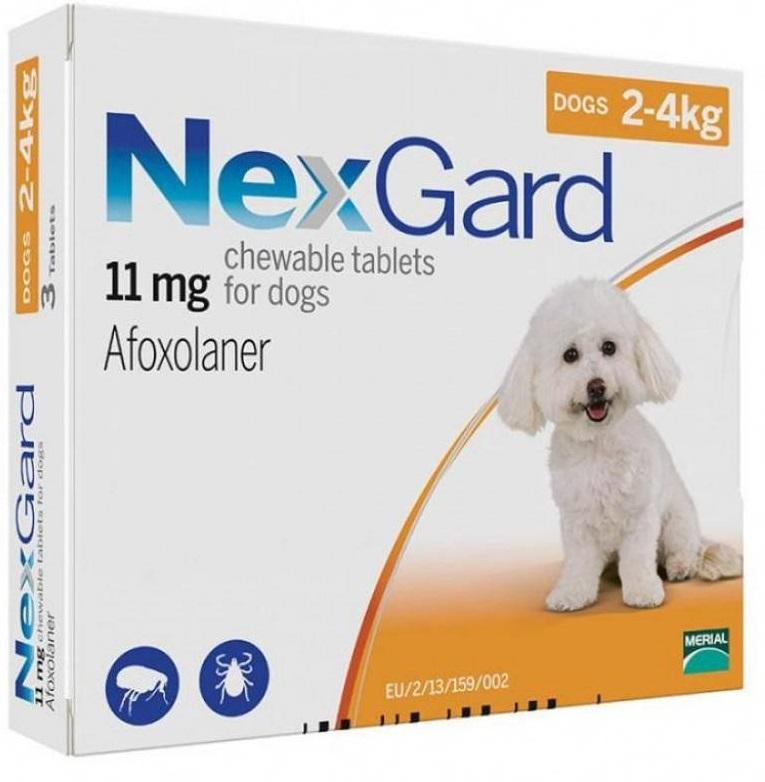 NEXGARD таблетки від бліх і кліщів для собак вагою від 2 до 4 кг