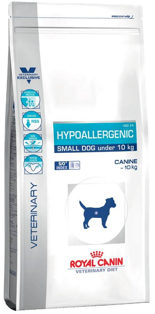 ROYAL CANIN HYPOALLERGENIC SMALL DOG UNDER 10KG – лечебный сухой корм для собак весом до 10 кг с пищевой аллергией и непереносимостью