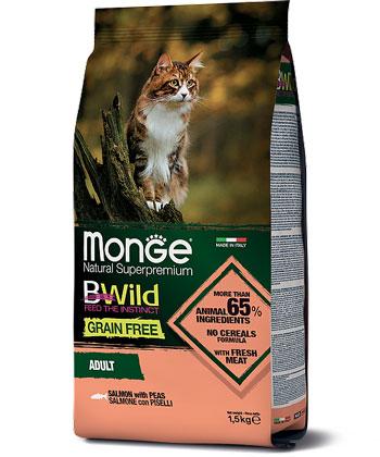 MONGE CAT GRAIN FREE SALMONE CON PISELLI – сухой беззерновой корм с лососем и горохом для взрослых кошек