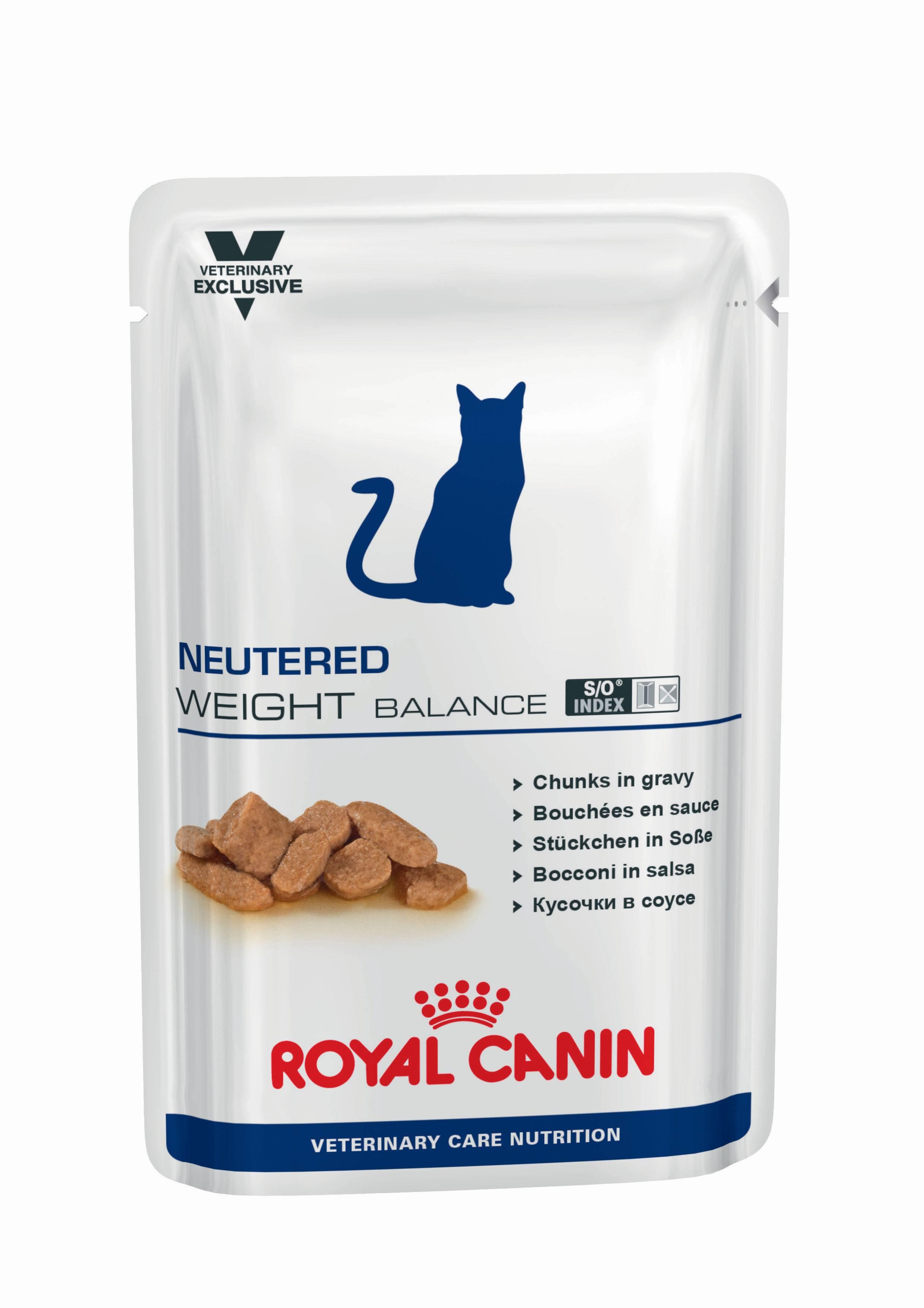 ROYAL CANIN NEUTERED WEIGHT BALANCE – лечебный влажный корм для стерилизованных котов с момента операции до 7 лет, склонных к избыточному весу