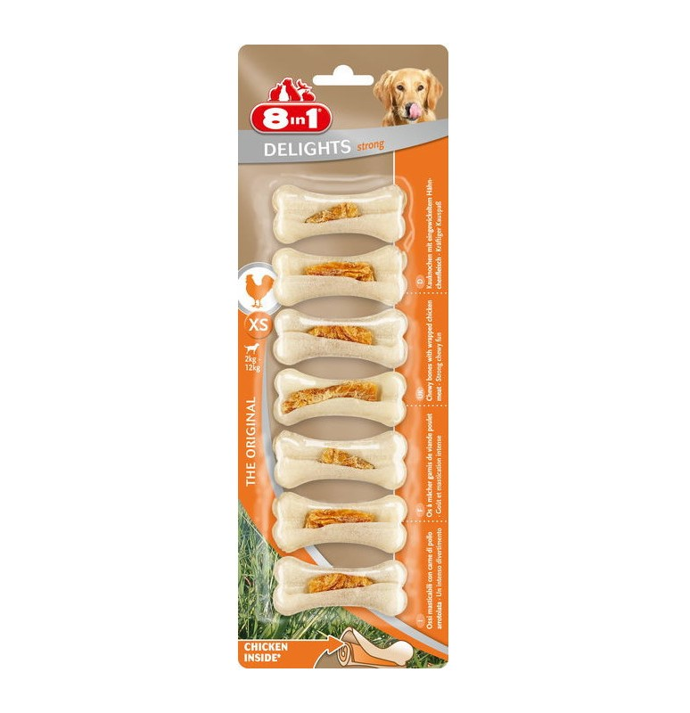 8in1 Delights Strong  XS – жевательные косточки с куриным мясом